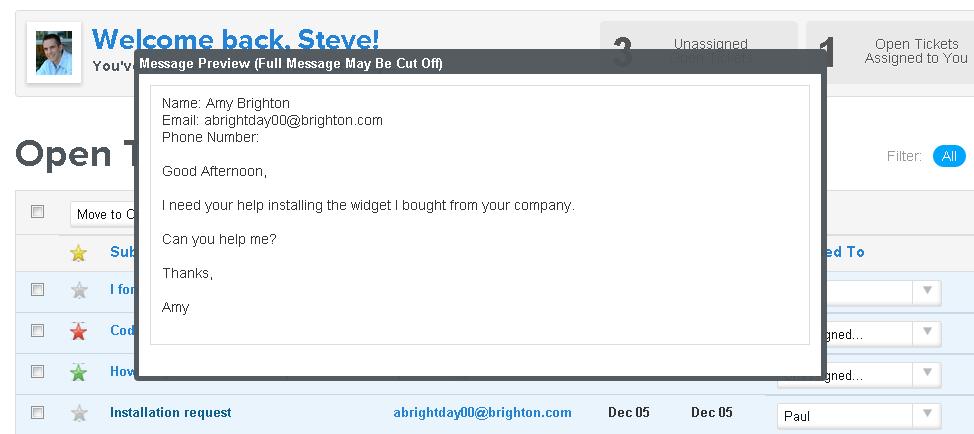Help Desk Software     Live Chat   Customer Support Software      Helpdesk  Message Preview